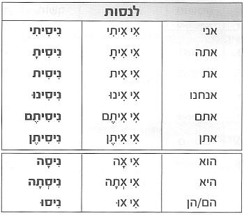Глагол לנסות в прошедшем времени