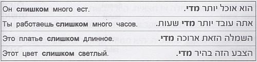 """Предложения на иврите со словом """"слишком"""" - מדי"""