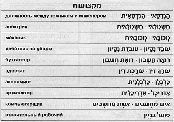 специальности на иврите